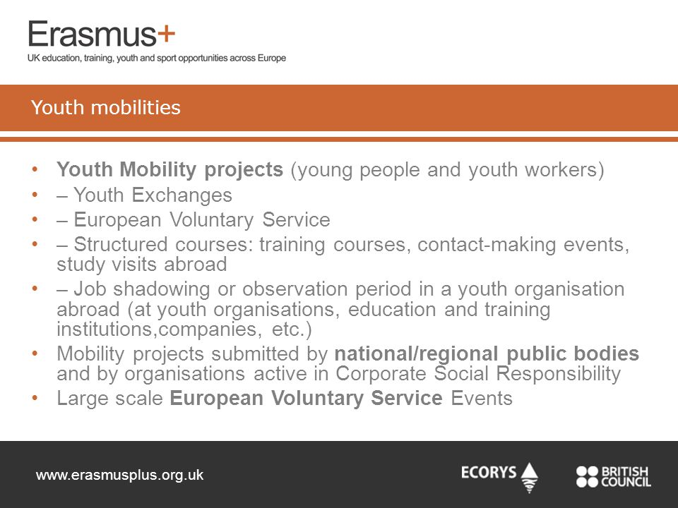 Youth Mobility projects (young people and youth workers)