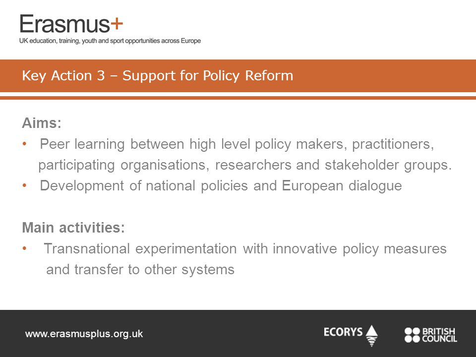Key Action 3 – Support for Policy Reform