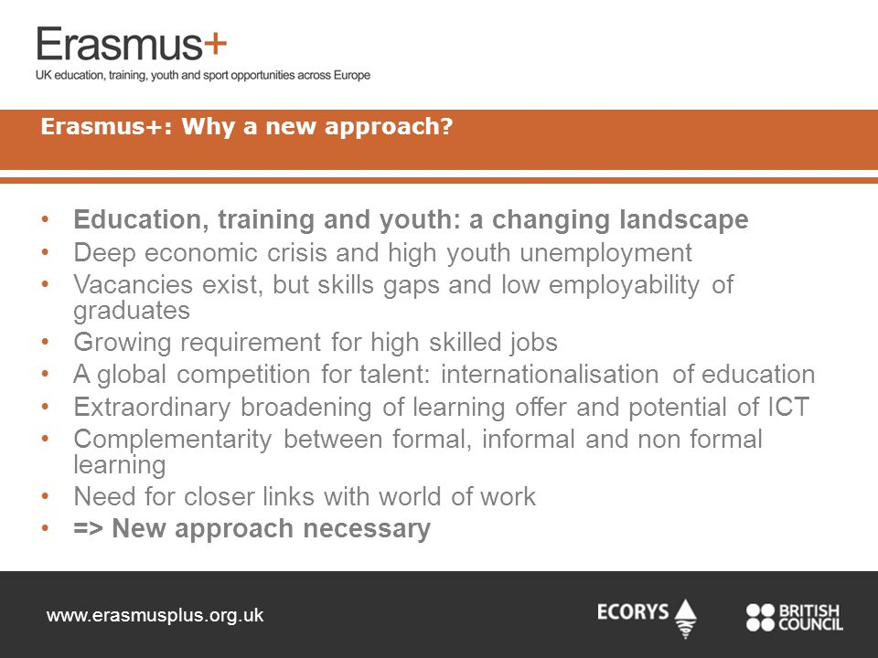 Erasmus+: Why a new approach