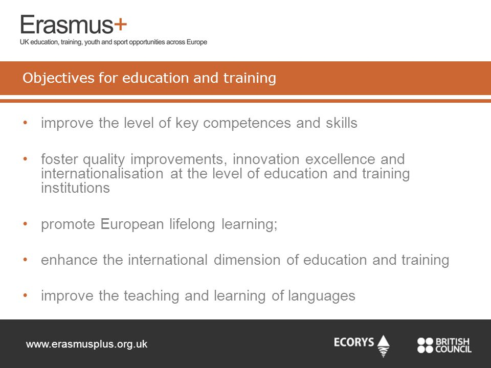 Objectives for education and training