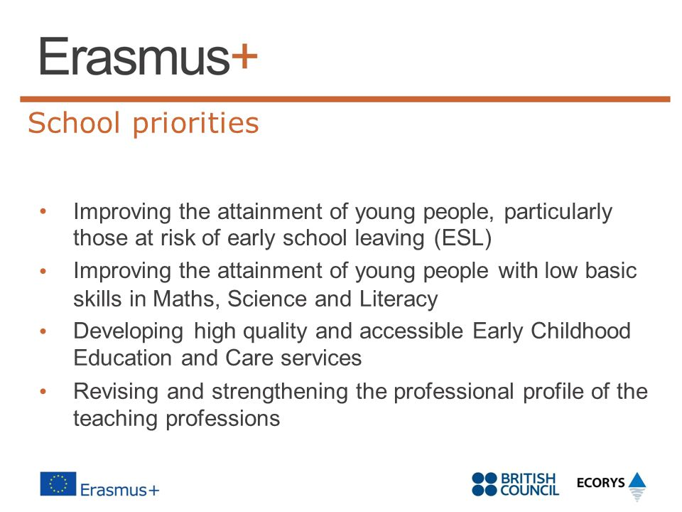 School priorities • Improving the attainment of