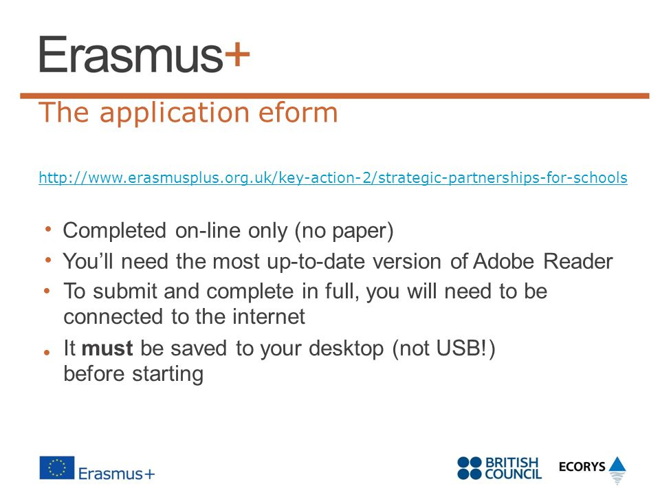 The application eform • Completed on-line only (no paper)