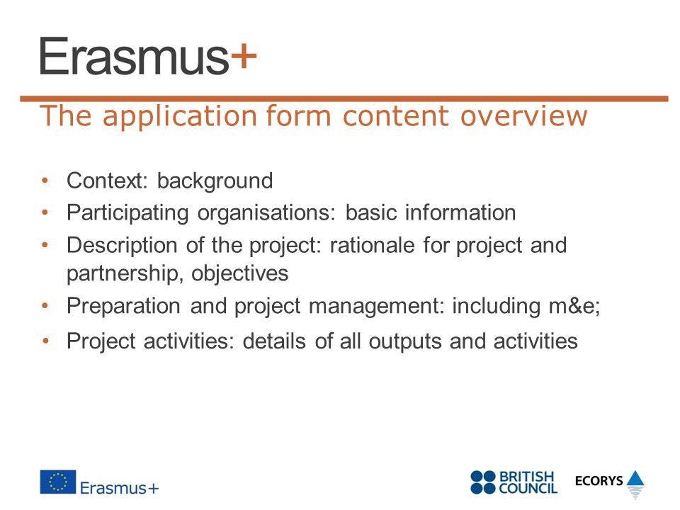 The application form content overview