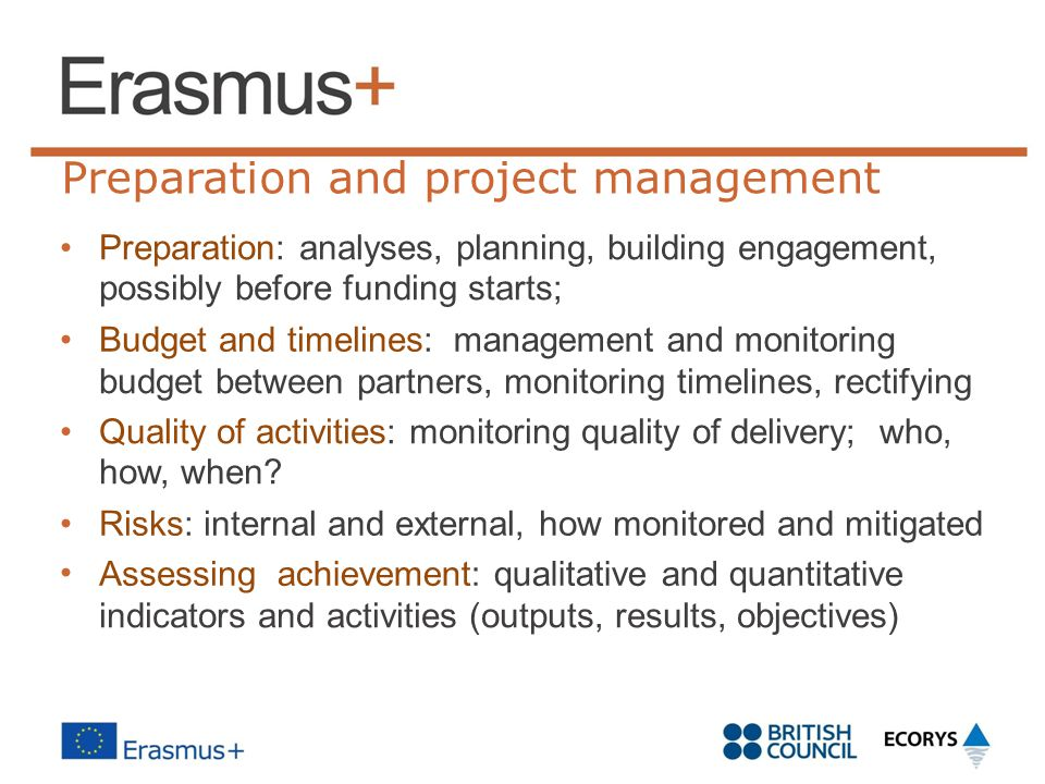 Preparation and project management