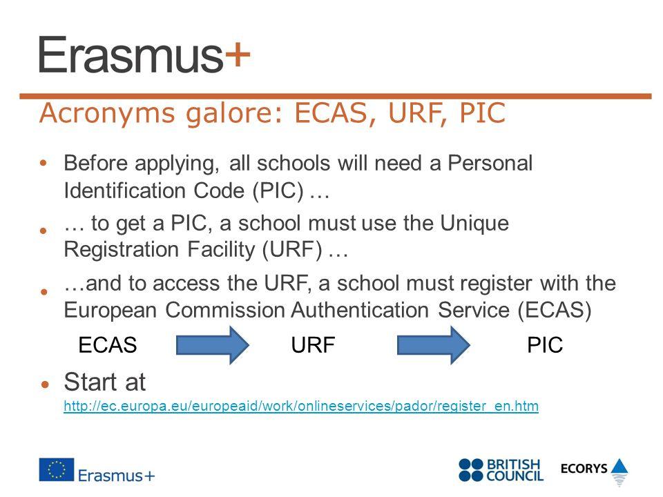 • Acronyms galore: ECAS, URF, PIC • • ECAS URF PIC Start at •