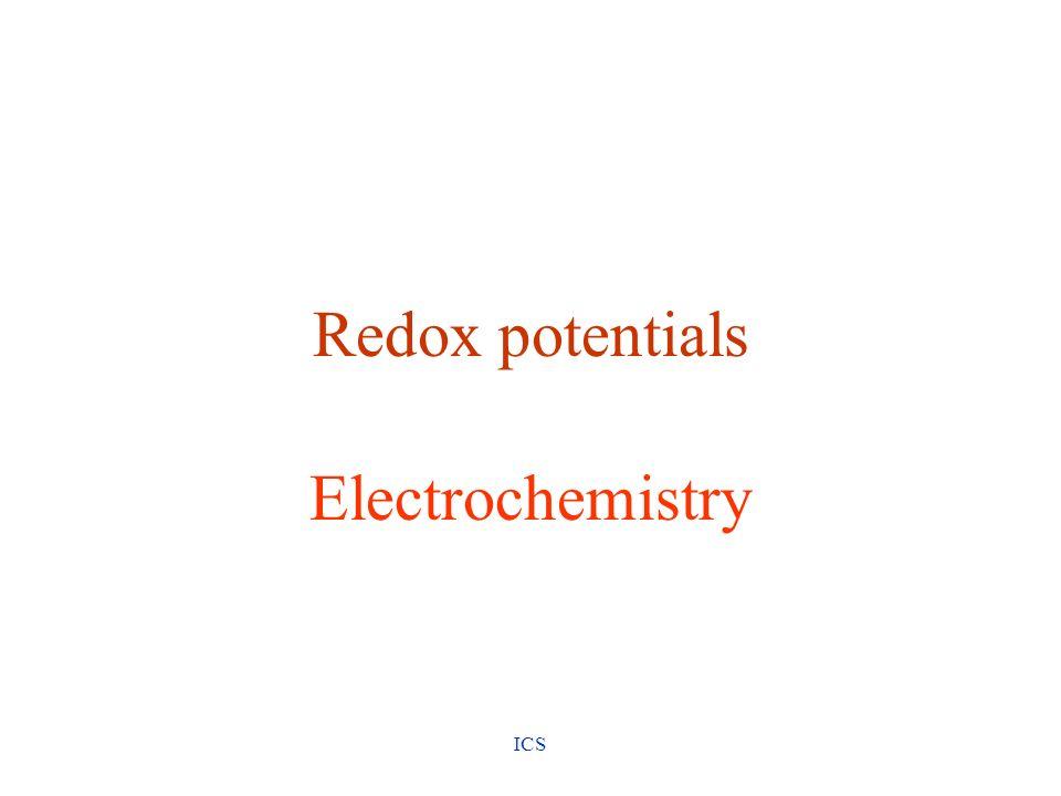Redox potentials Electrochemistry ICS