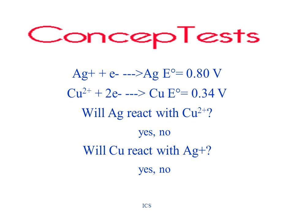 Ag+ + e- --->Ag E°= 0.80 V Cu2+ + 2e- ---> Cu E°= 0.34 V