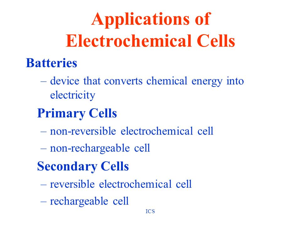 Applications of Electrochemical Cells