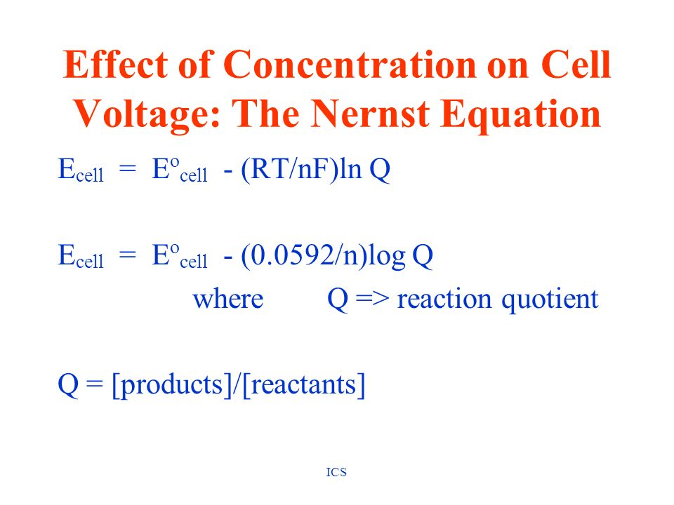 Effect of Concentration on Cell Voltage: The Nernst Equation
