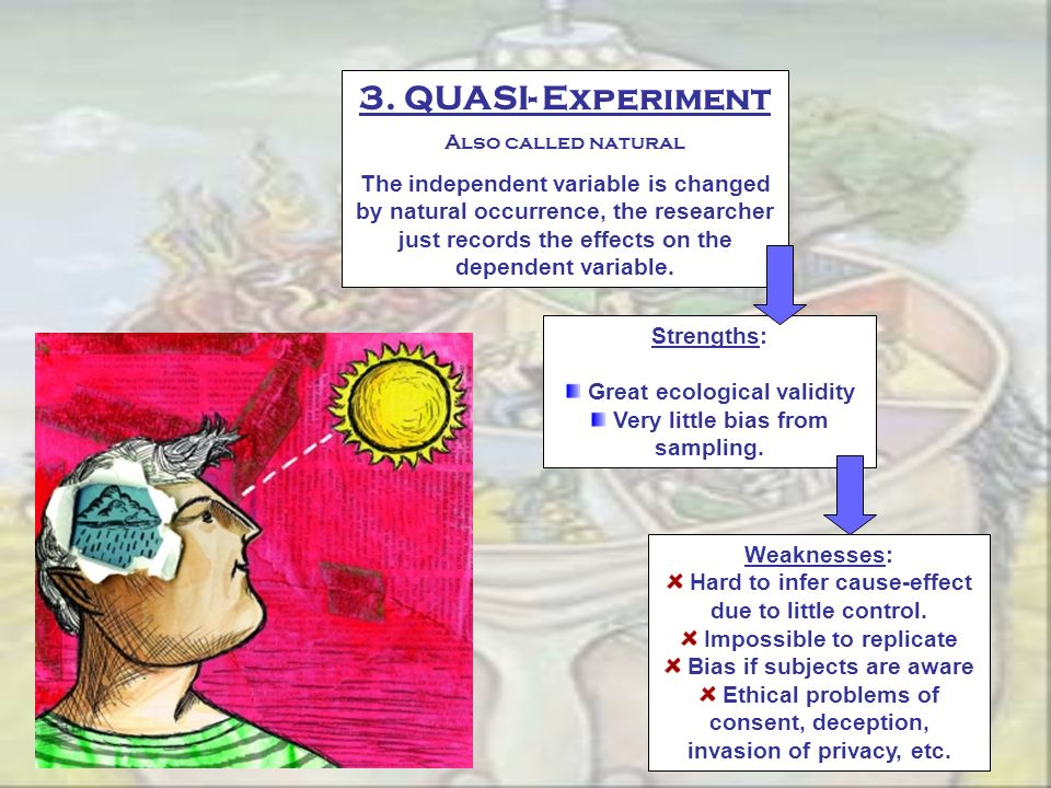 3. QUASI- Experiment Also called natural.