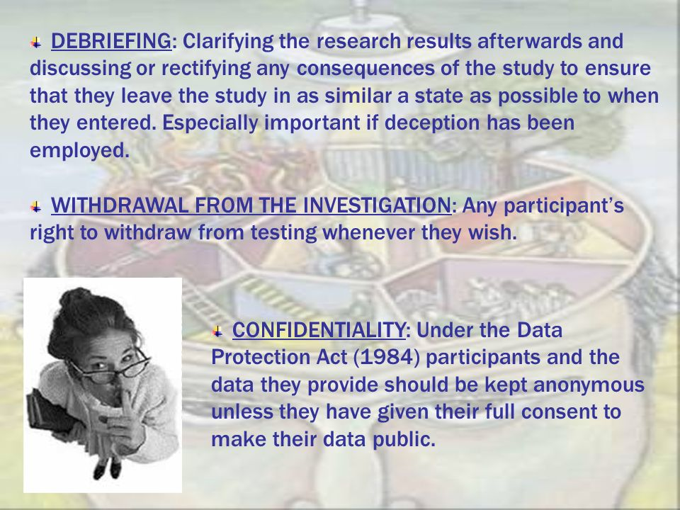 DEBRIEFING: Clarifying the research results afterwards and discussing or rectifying any consequences of the study to ensure that they leave the study in as similar a state as possible to when they entered. Especially important if deception has been employed.