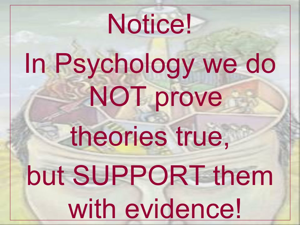 In Psychology we do NOT prove theories true,