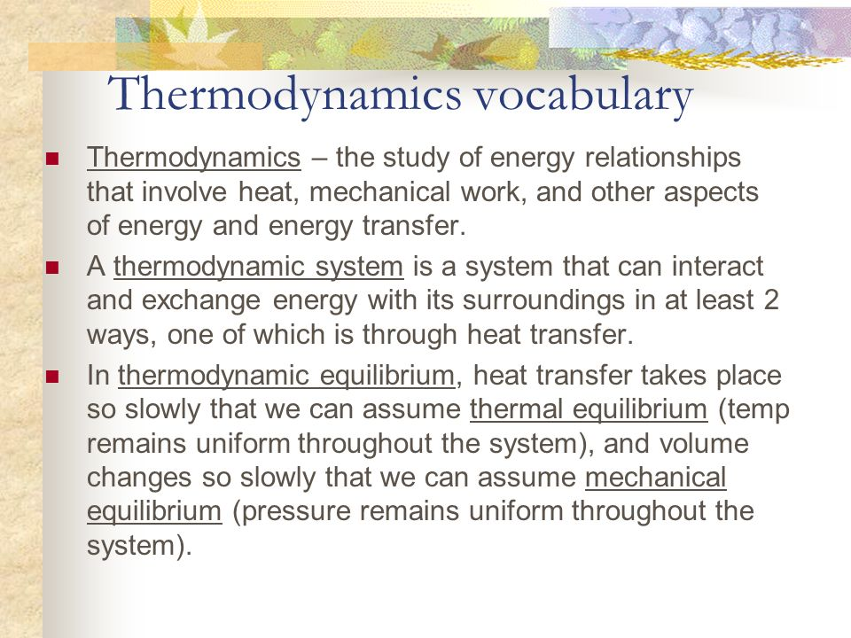 Thermodynamics vocabulary