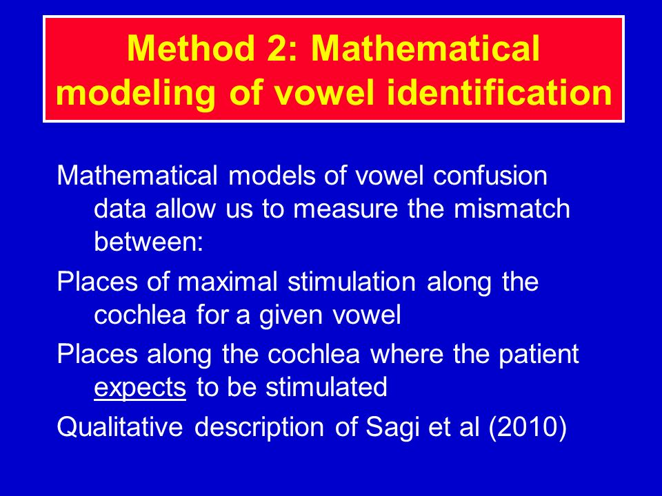 Method 2: Mathematical modeling of vowel identification