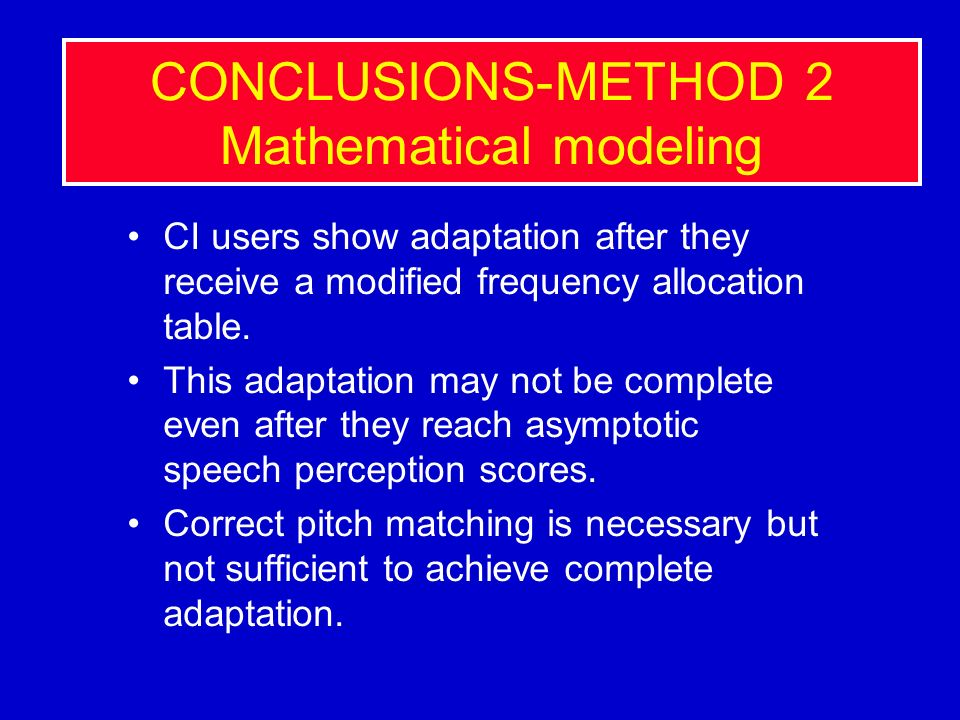 CONCLUSIONS-METHOD 2 Mathematical modeling