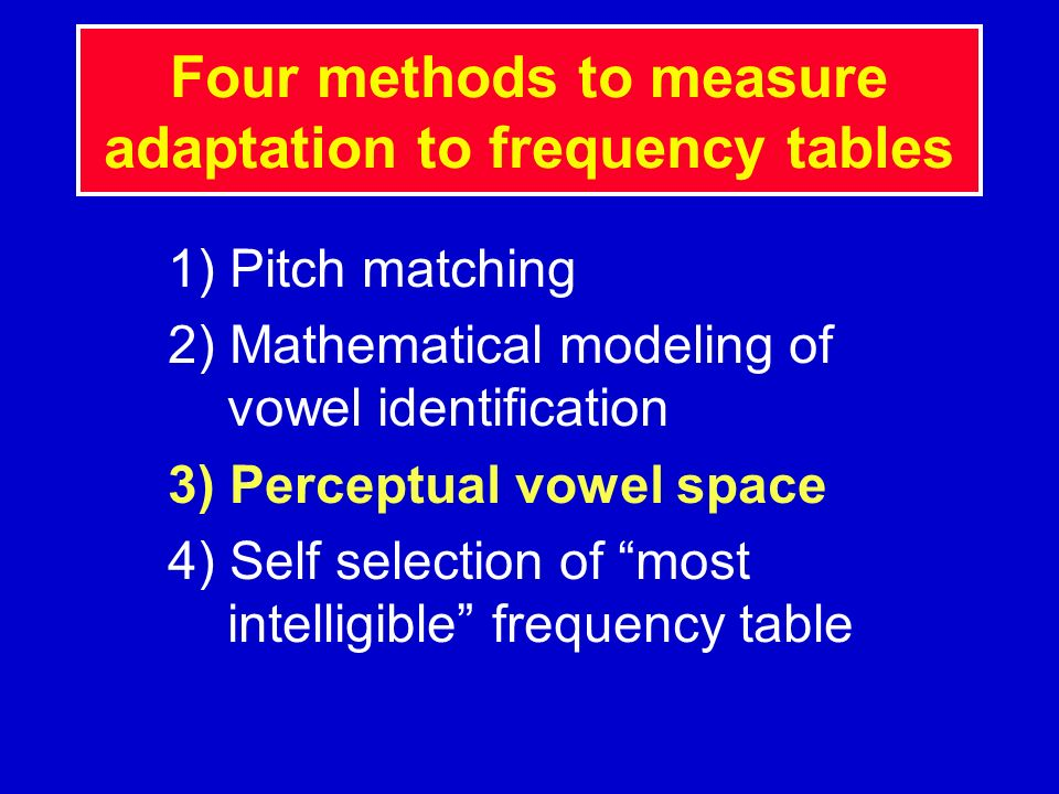 Four methods to measure adaptation to frequency tables