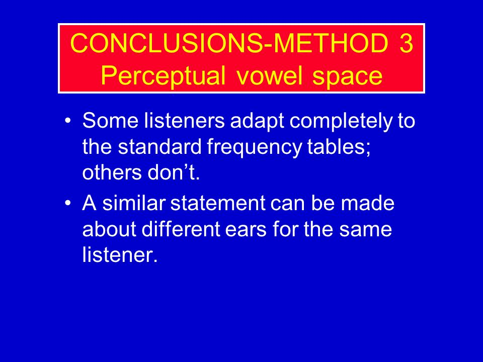 CONCLUSIONS-METHOD 3 Perceptual vowel space