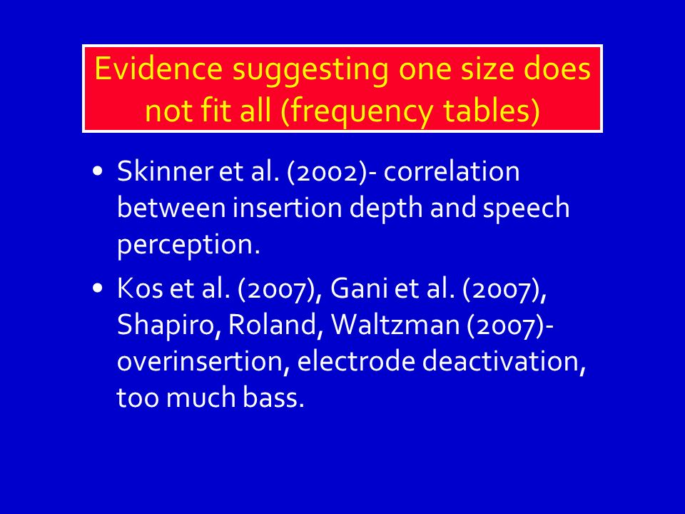 Evidence suggesting one size does not fit all (frequency tables)