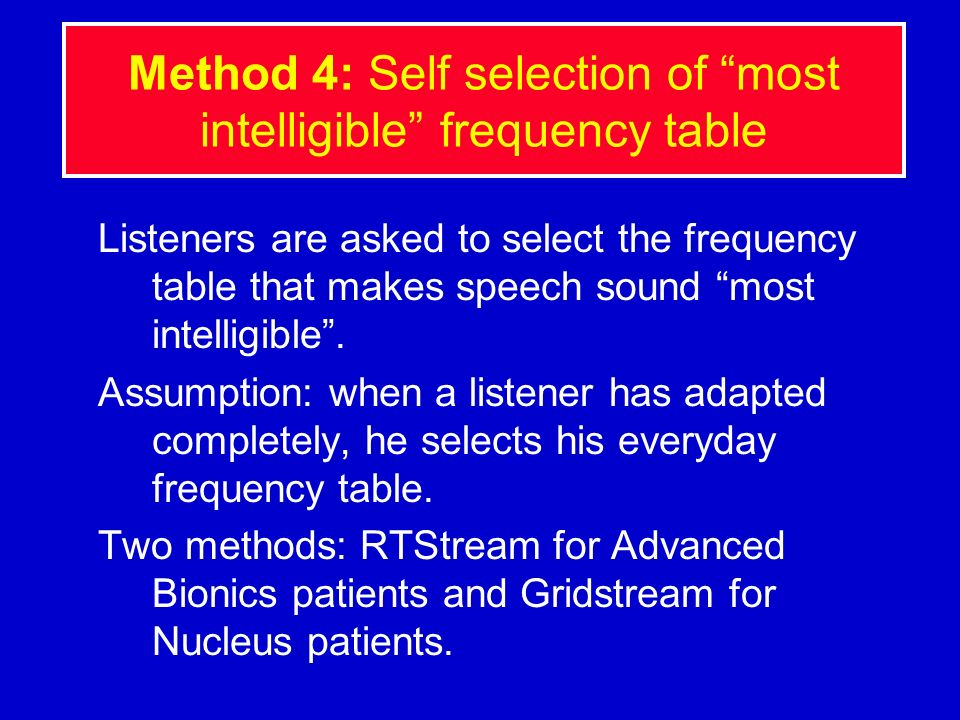 Method 4: Self selection of most intelligible frequency table
