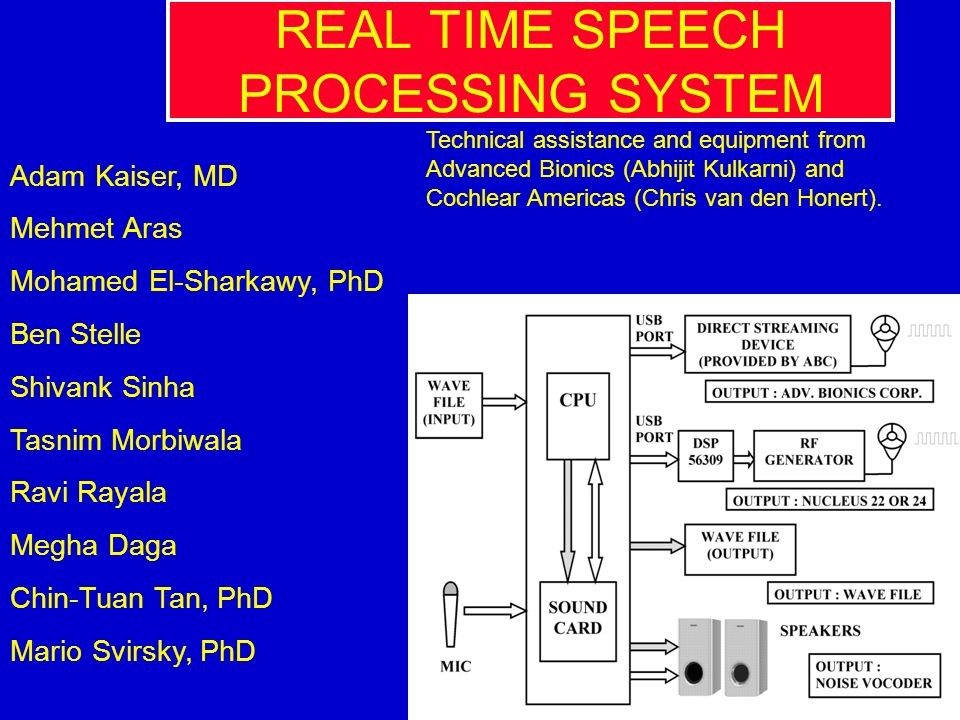 REAL TIME SPEECH PROCESSING SYSTEM