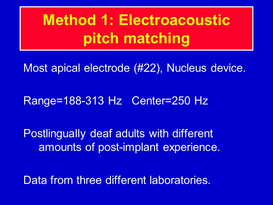 Method 1: Electroacoustic pitch matching