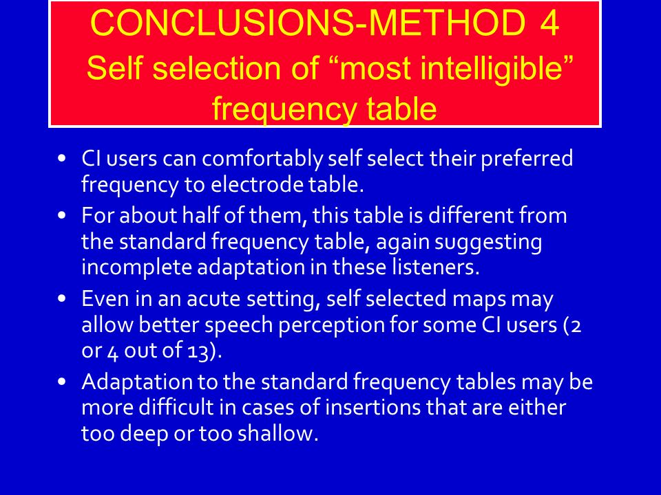 CONCLUSIONS-METHOD 4 Self selection of most intelligible frequency table