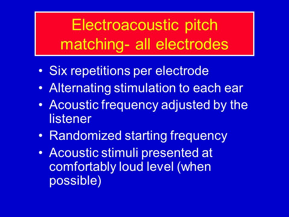 Electroacoustic pitch matching- all electrodes