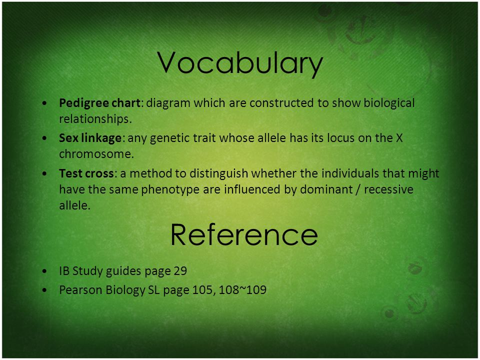 Vocabulary Pedigree chart: diagram which are constructed to show biological relationships.