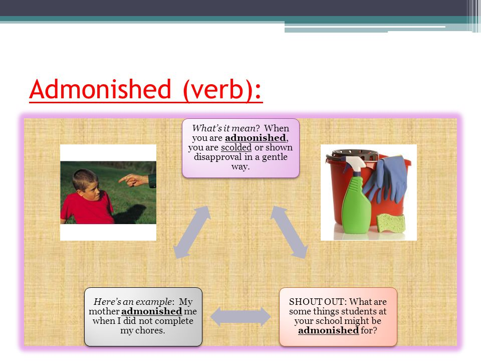 Admonished (verb): What's it mean When you are admonished, you are scolded or shown disapproval in a gentle way.
