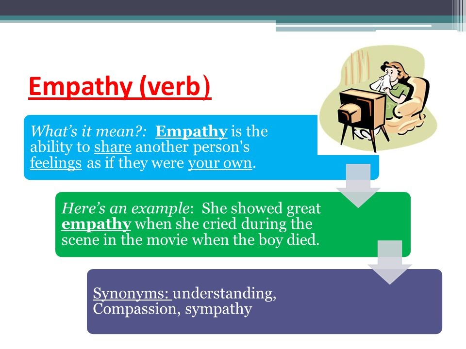Empathy (verb) What's it mean : Empathy is the ability to share another person s feelings as if they were your own.