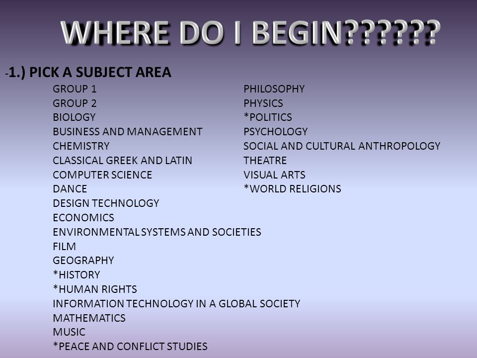WHERE DO I BEGIN -1.) PICK A SUBJECT AREA GROUP 1 PHILOSOPHY
