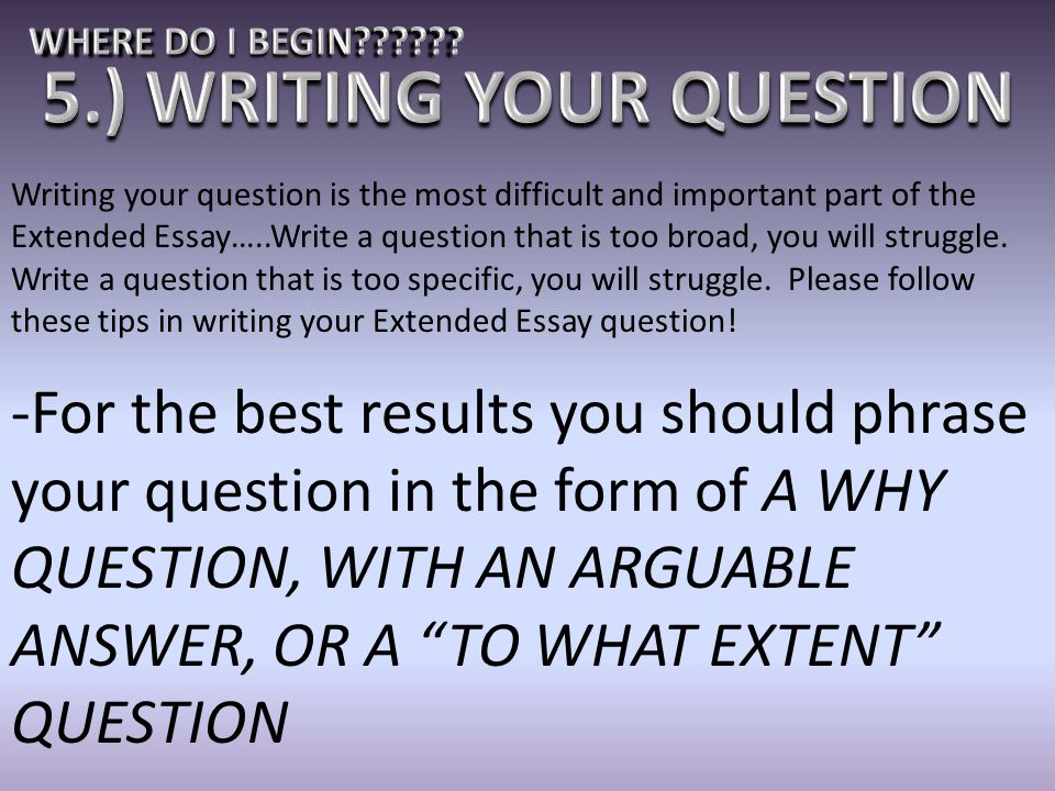 5.) WRITING YOUR QUESTION