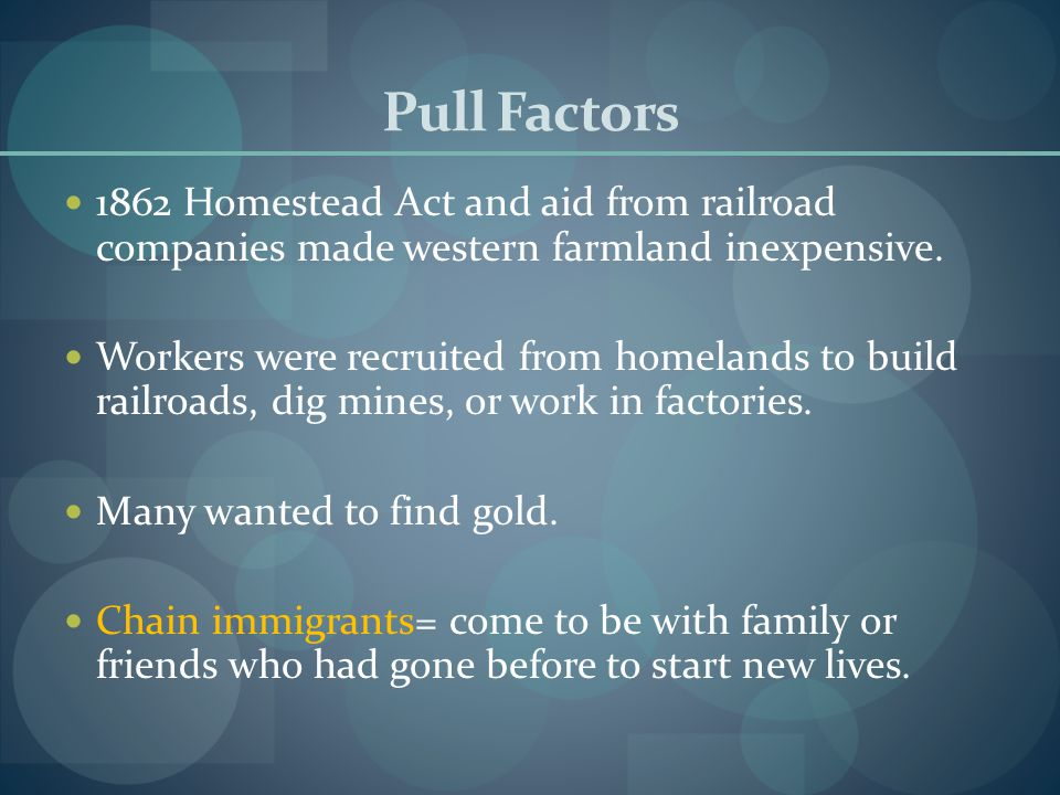 Pull Factors 1862 Homestead Act and aid from railroad companies made western farmland inexpensive.