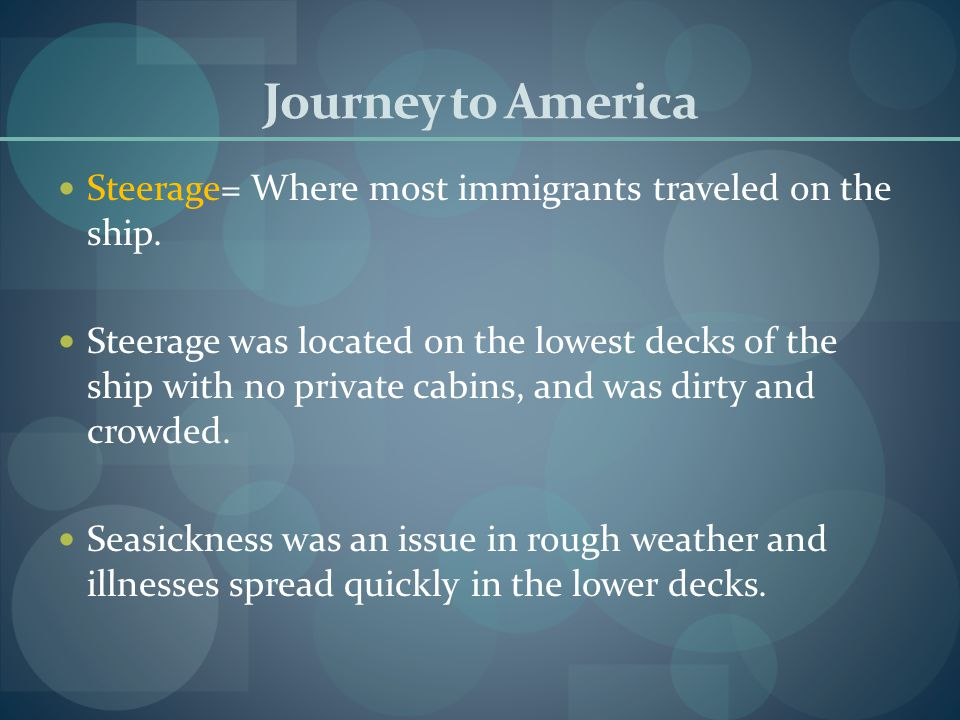 Journey to America Steerage= Where most immigrants traveled on the ship.