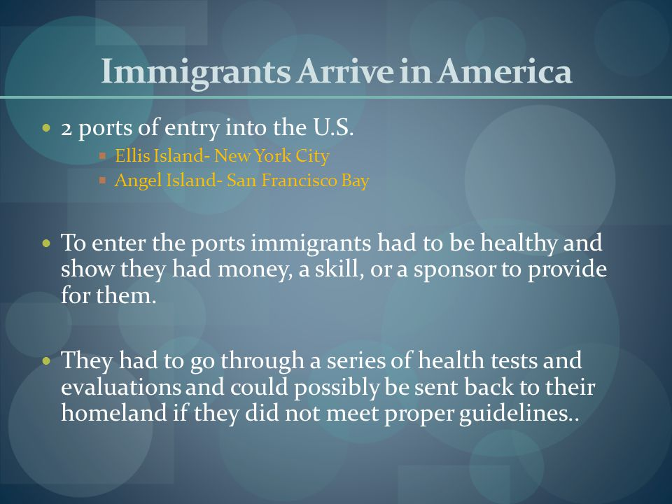 Immigrants Arrive in America