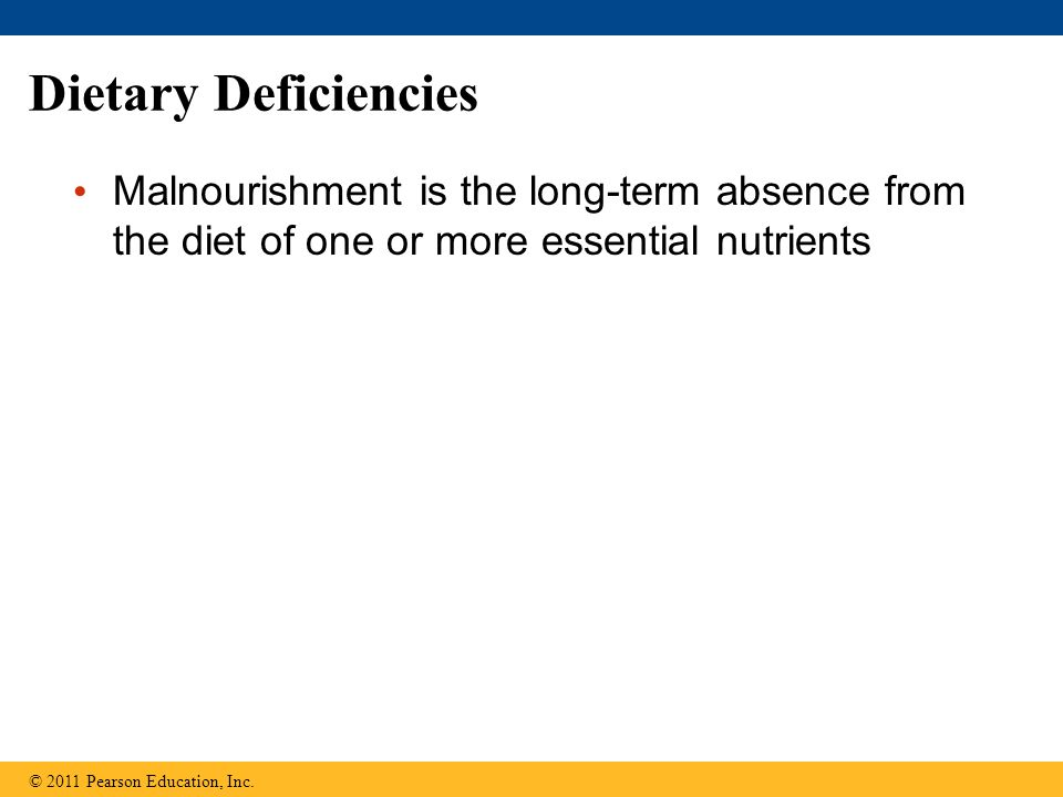 Dietary Deficiencies Malnourishment is the long-term absence from the diet of one or more essential nutrients.