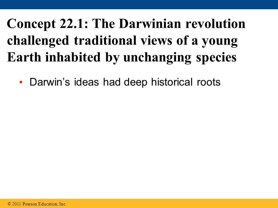 Concept 22.1: The Darwinian revolution challenged traditional views of a young Earth inhabited by unchanging species