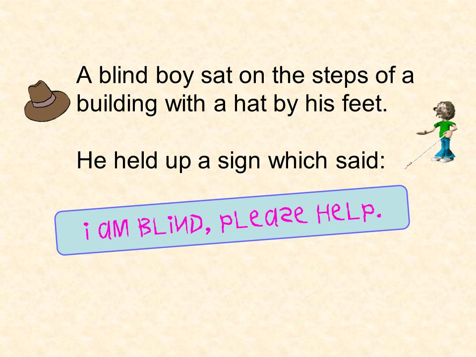 A blind boy sat on the steps of a building with a hat by his feet