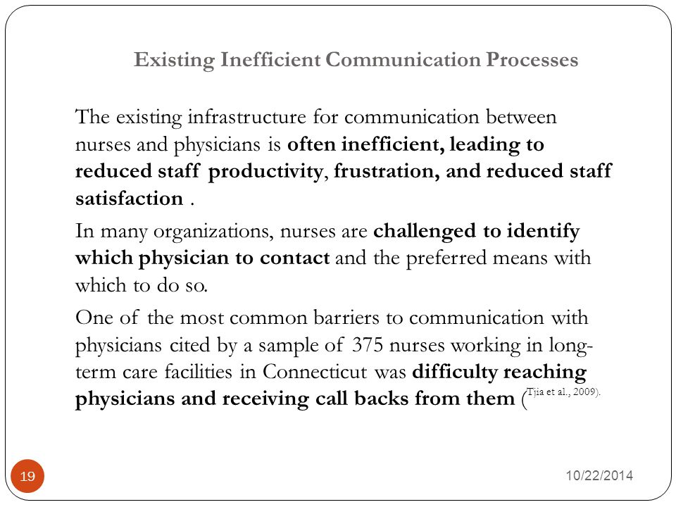 Existing Inefficient Communication Processes