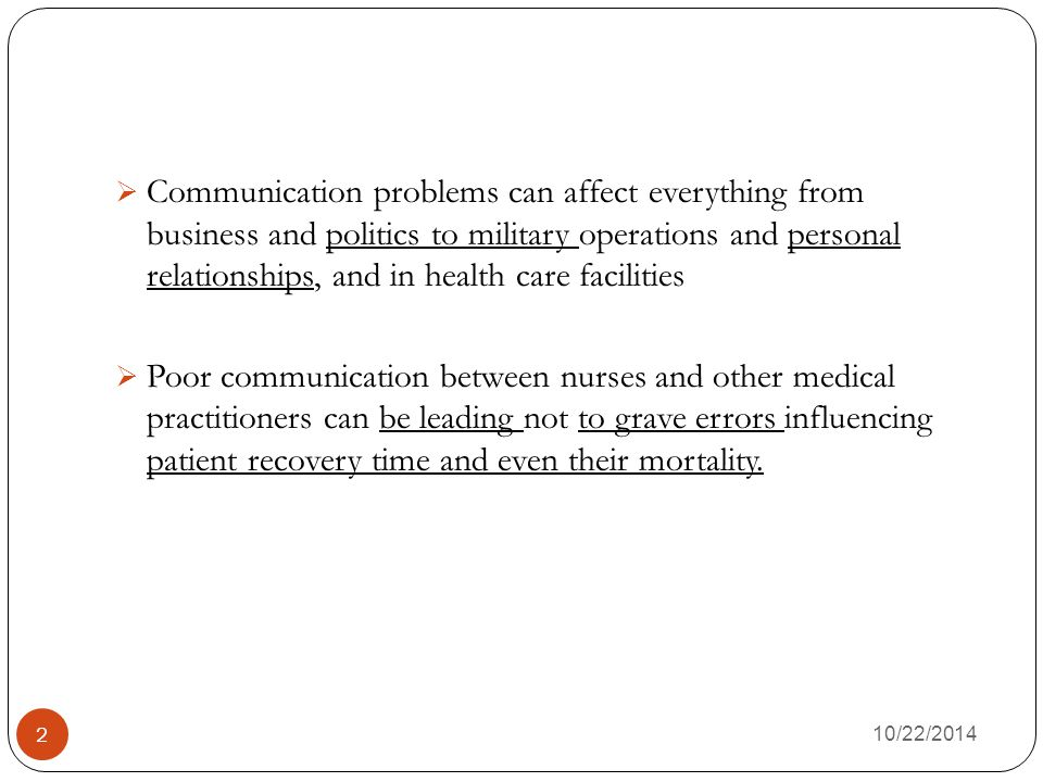 Communication problems can affect everything from business and politics to military operations and personal relationships, and in health care facilities