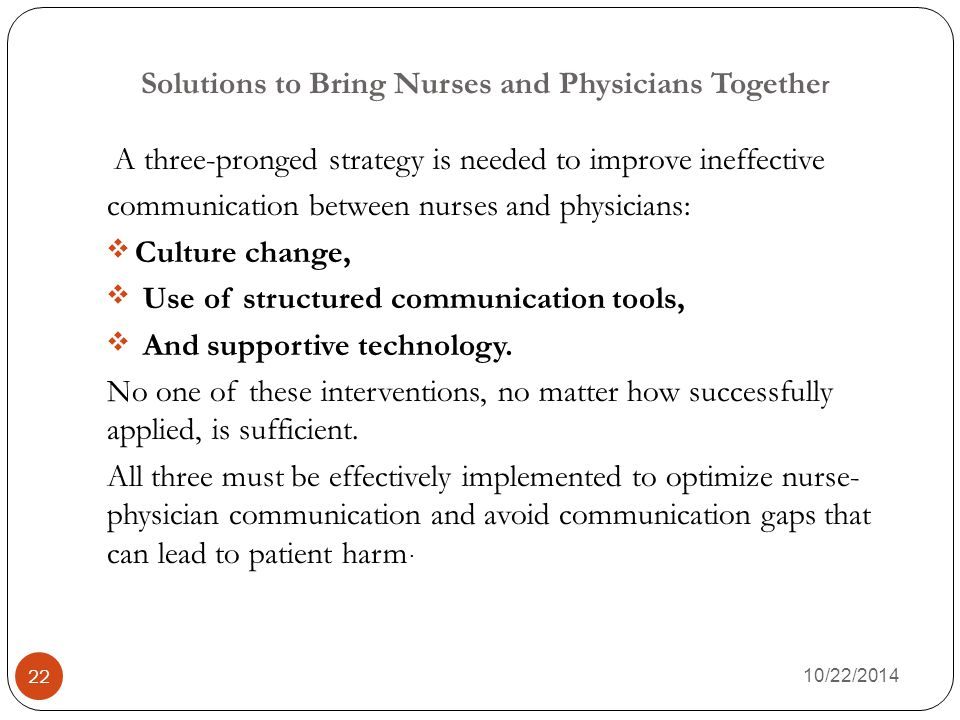 Solutions to Bring Nurses and Physicians Together
