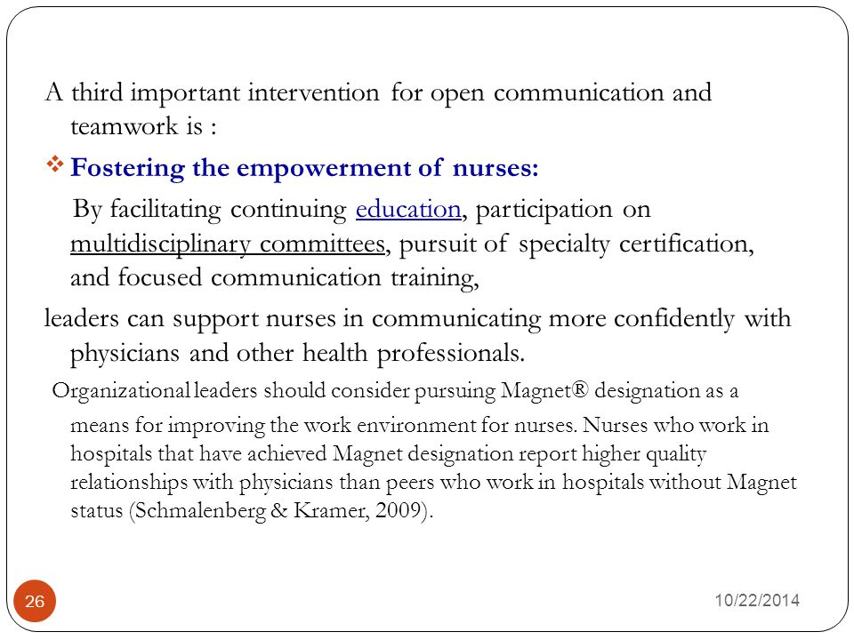 Fostering the empowerment of nurses: