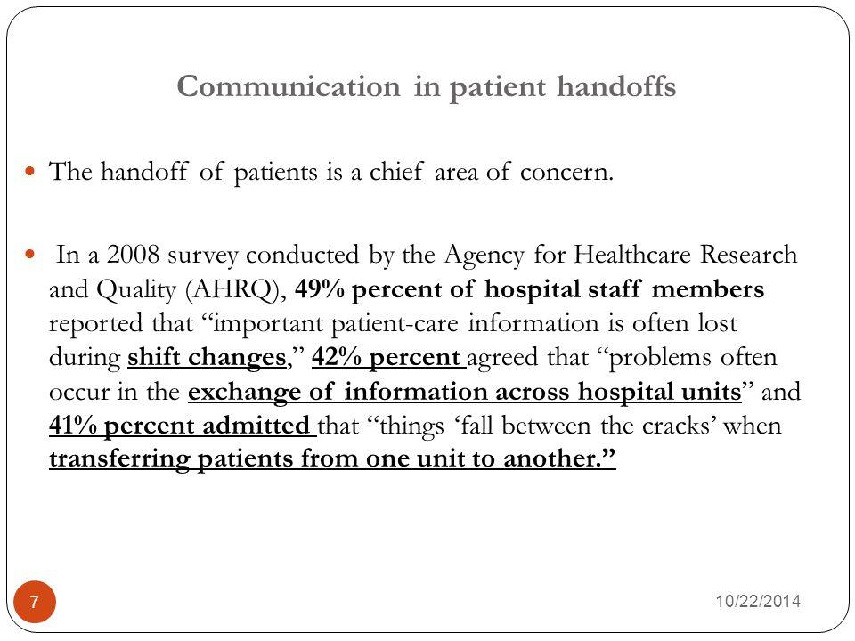 Communication in patient handoffs