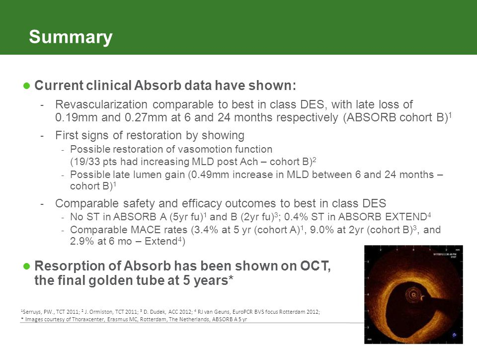 Summary Current clinical Absorb data have shown: