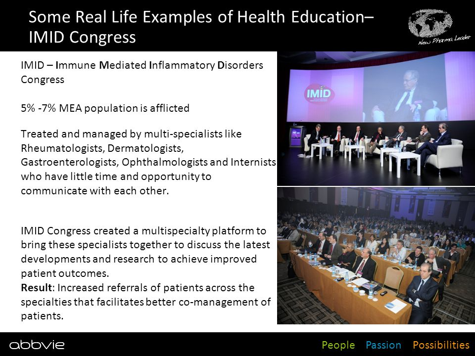 Some Real Life Examples of Health Education– IMID Congress