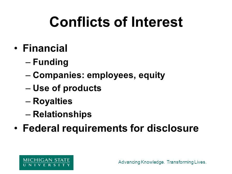 Conflicts of Interest Financial Federal requirements for disclosure