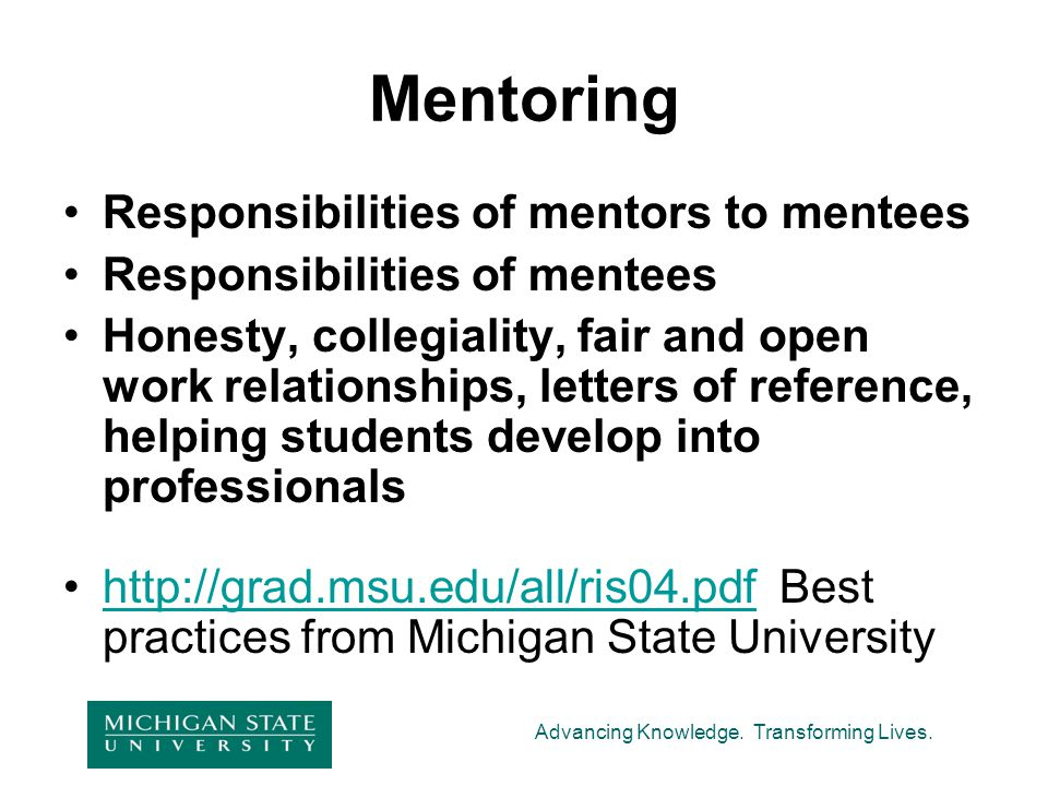 Mentoring Responsibilities of mentors to mentees