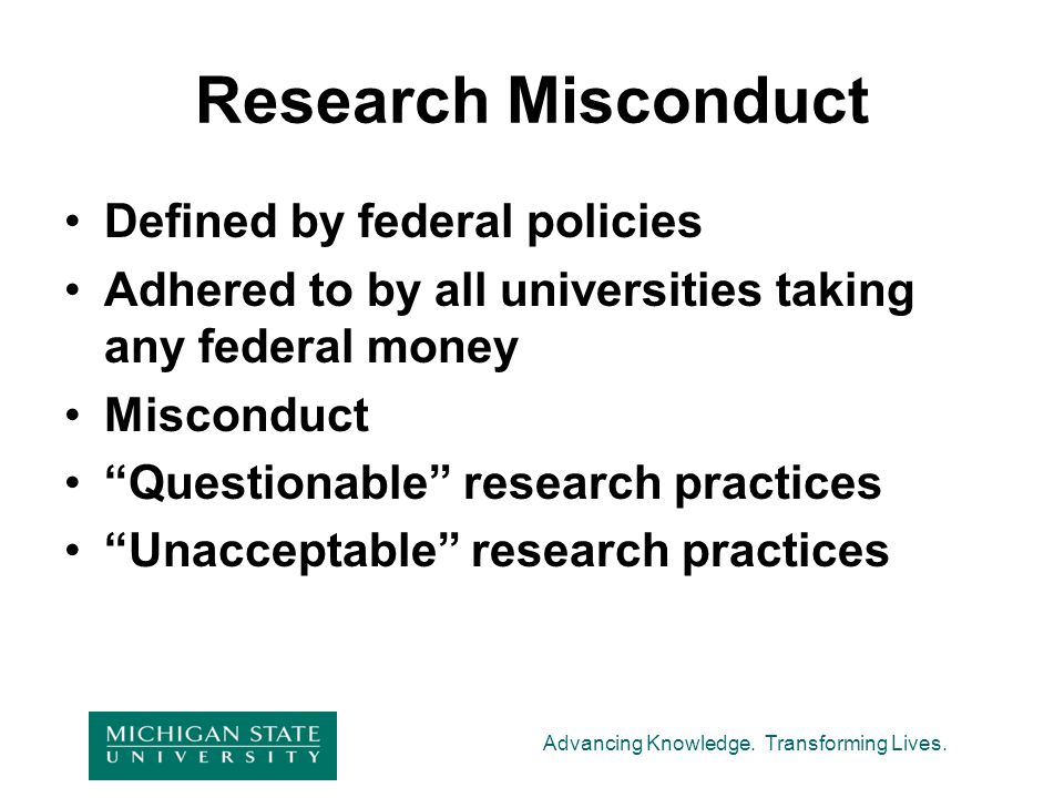 Research Misconduct Defined by federal policies