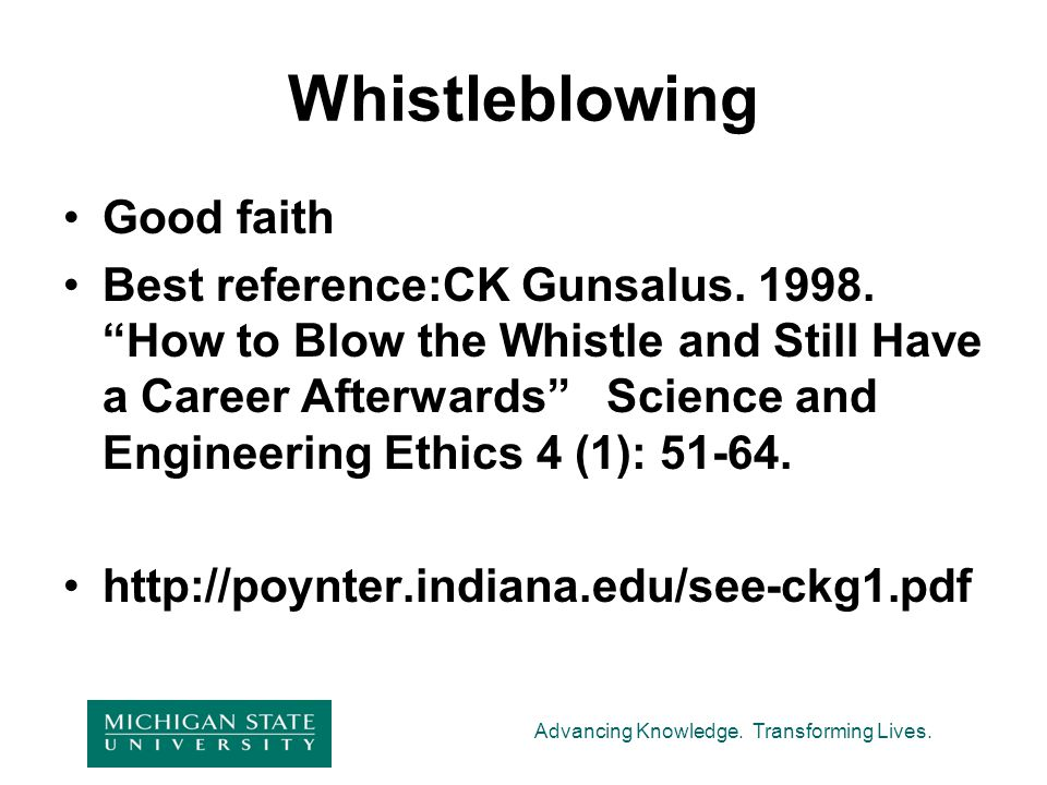 Whistleblowing Good faith