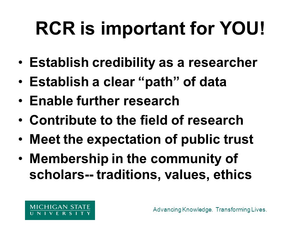 RCR is important for YOU!